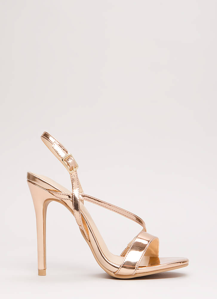 Swoop Down Strappy Asymmetrical Heels ROSEGOLD