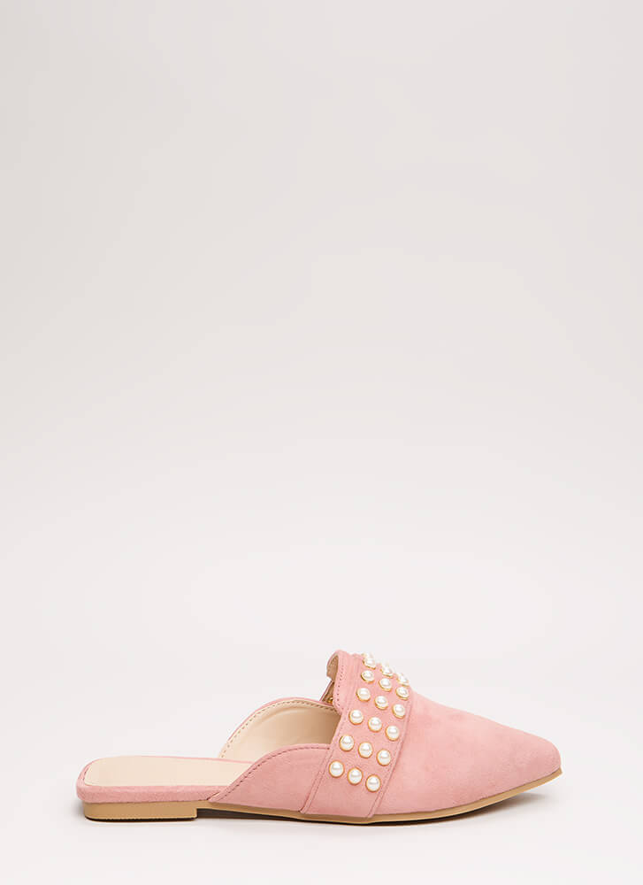 Embellished Story Faux Pearl Mule Flats MAUVE