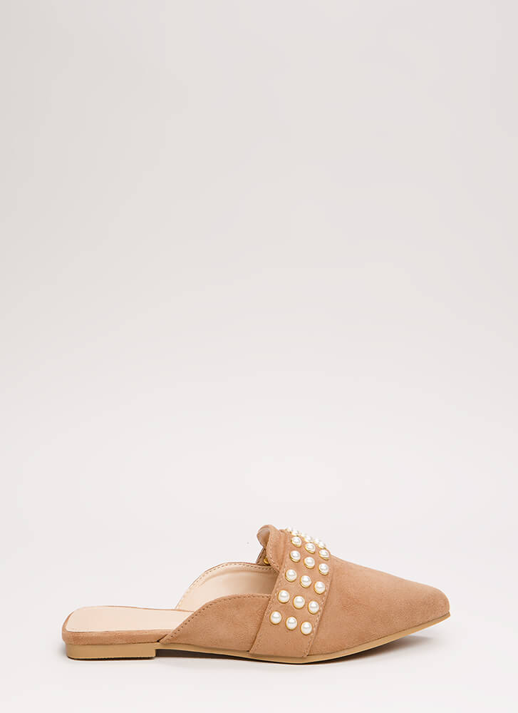 Embellished Story Faux Pearl Mule Flats TAUPE