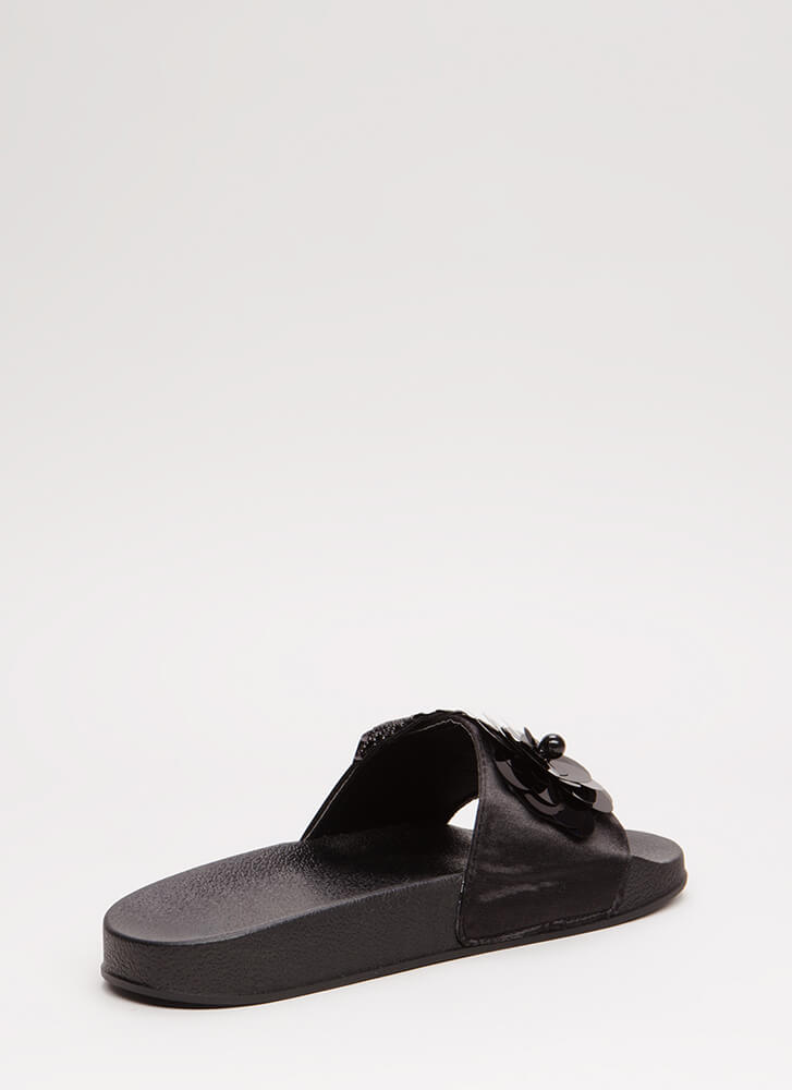 Flower Child Satin Slide Sandals BLACK