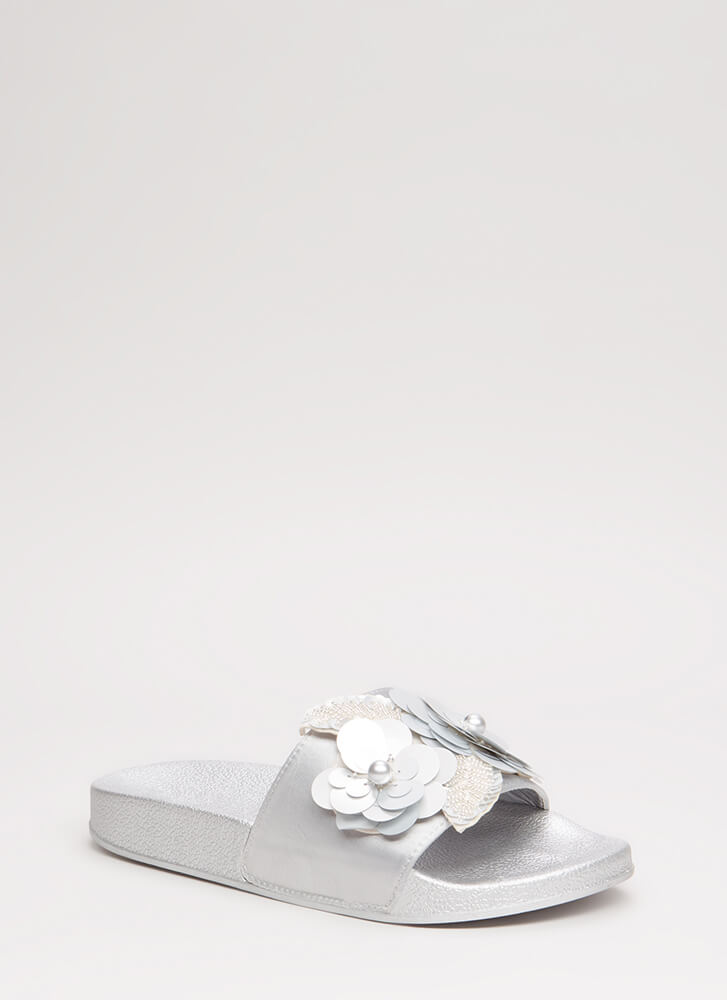 Flower Child Satin Slide Sandals SILVER