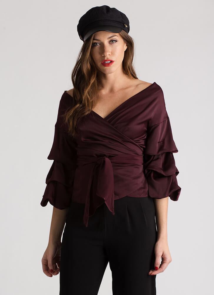 Princess Puffy Wrapped Satin Top OXBLOOD