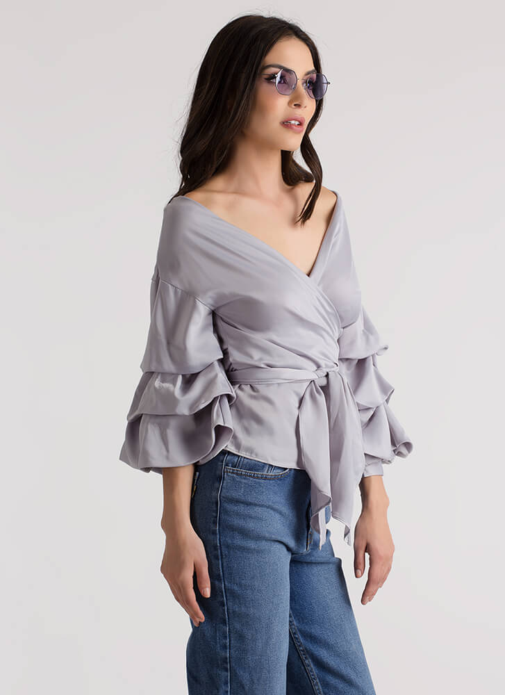 Princess Puffy Wrapped Satin Top SILVER