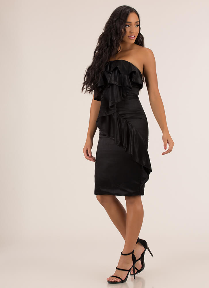 Cascading Ruffle Strapless Satin Dress BLACK
