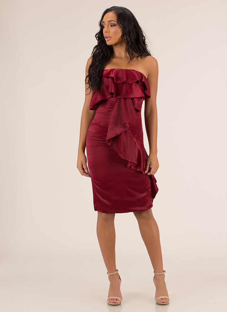 Cascading Ruffle Strapless Satin Dress BURGUNDY