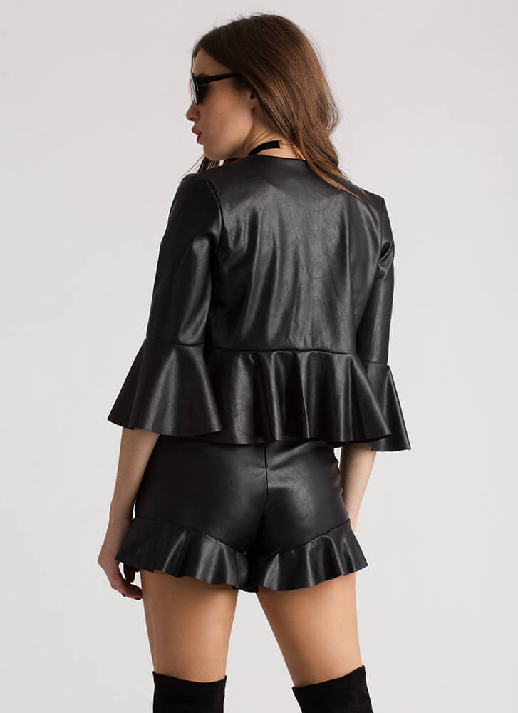Miss Moto Ruffled Faux Leather Shorts BLACK