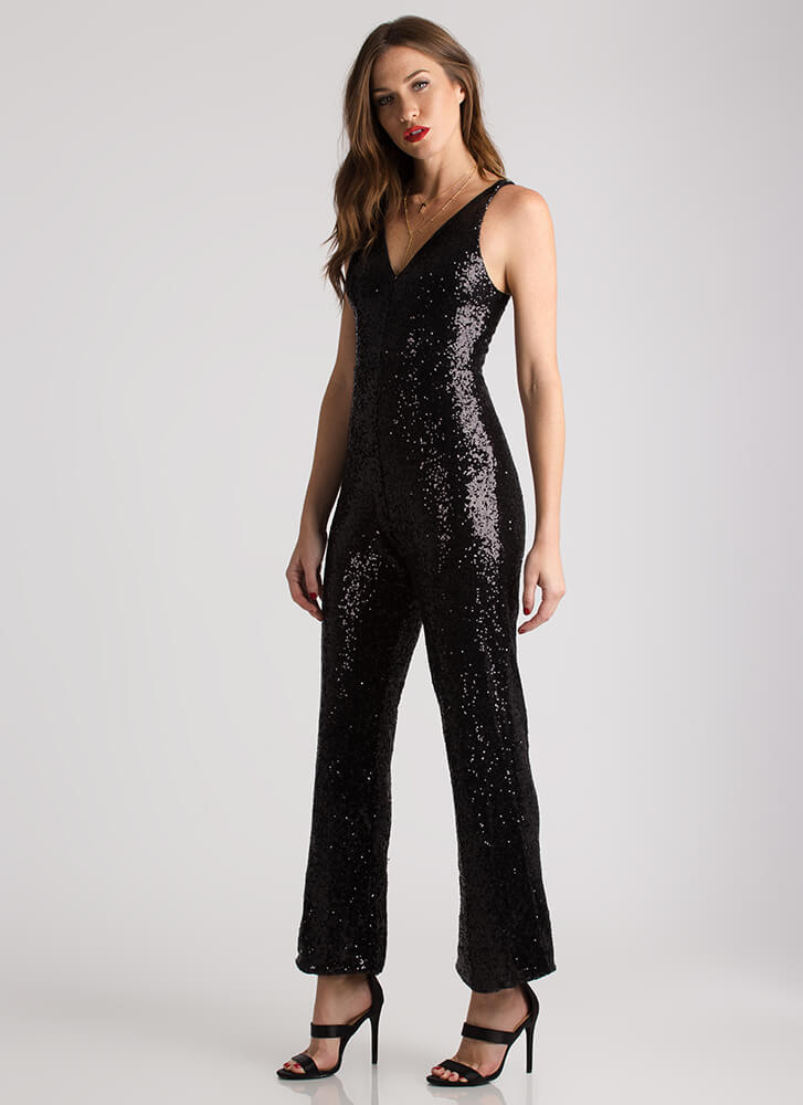 Sequined Soiree Wide-Leg Jumpsuit BLACK (You Saved $21)