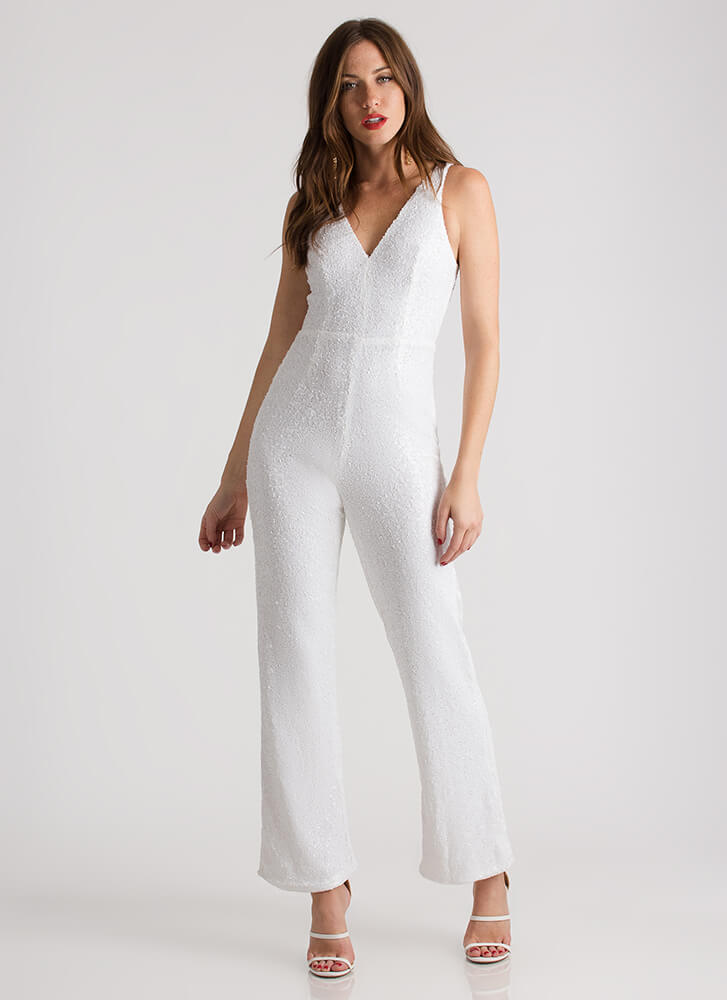 Sequined Soiree Wide-Leg Jumpsuit WHITE (You Saved $21)