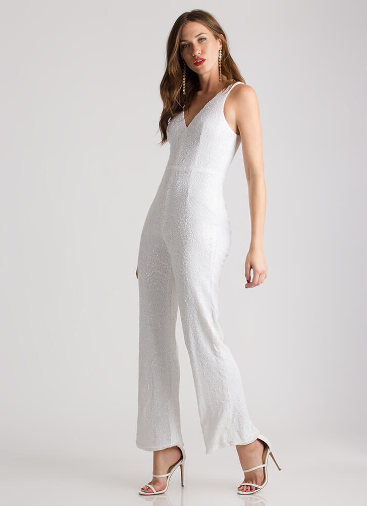 Sequined Soiree Wide-Leg Jumpsuit WHITE