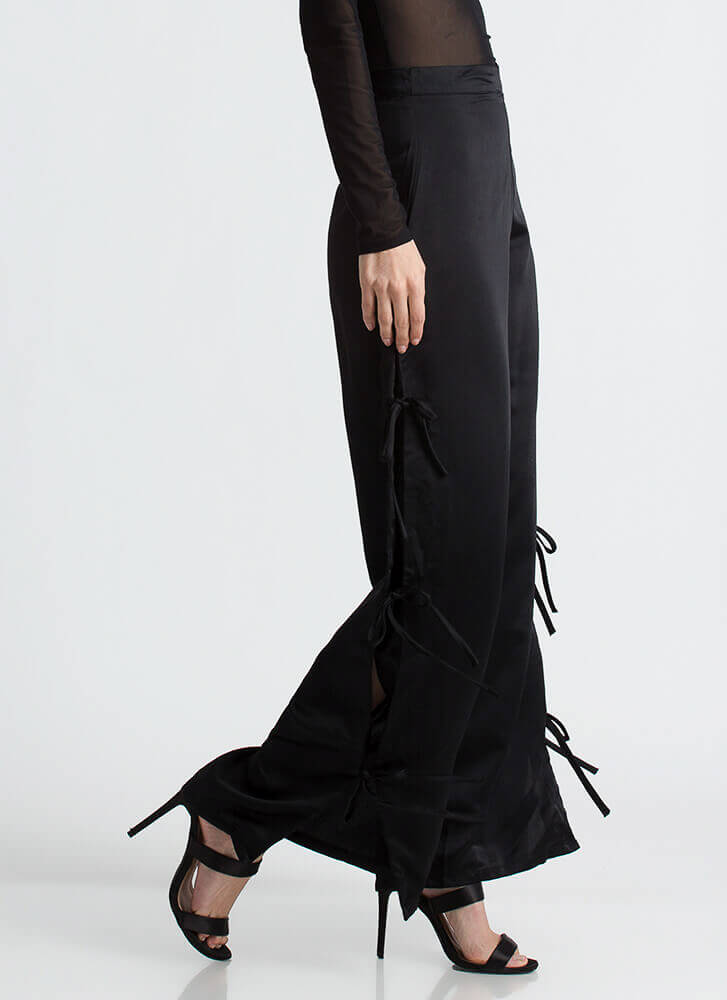 Let's Split It Tied Bow Palazzo Pants BLACK