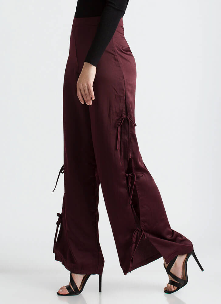 Let's Split It Tied Bow Palazzo Pants OXBLOOD
