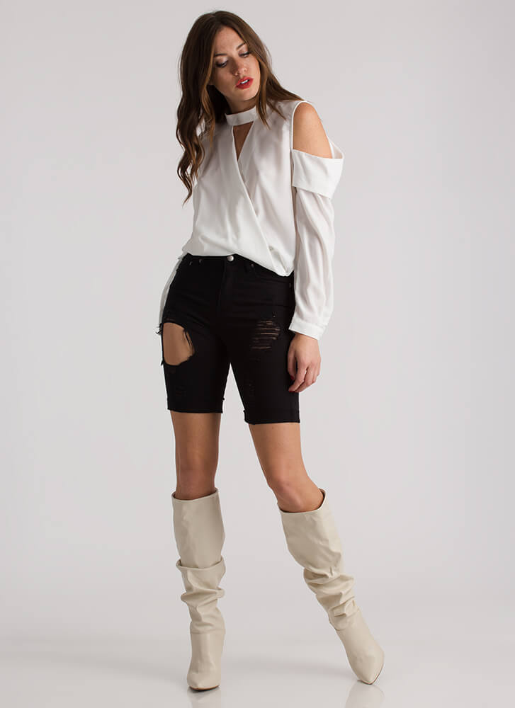 Hot And Cold-Shoulder High-Low Blouse OFFWHITE