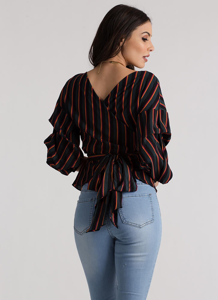 Staying Striped Puffy Wrapped Blouse TEAL