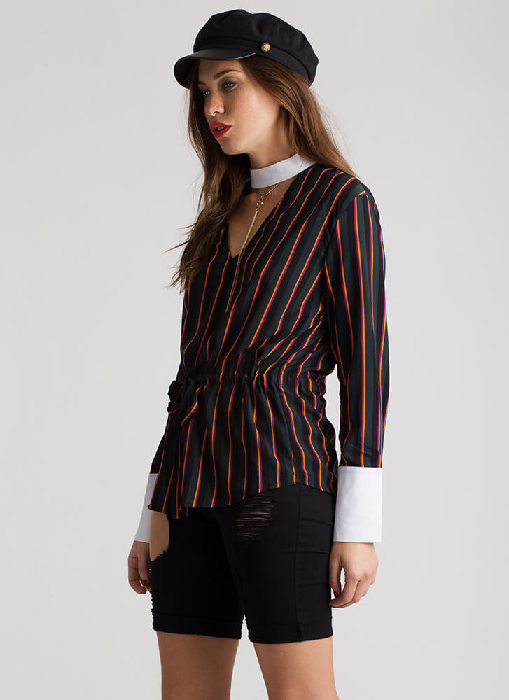 Staying Striped Cut-Out Choker Blouse TEAL
