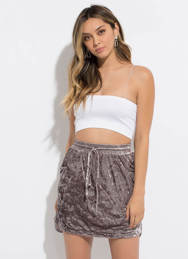 Crushed It Velvet Drawstring Skirt GREY
