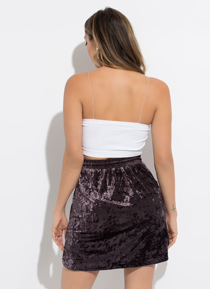 Crushed It Velvet Drawstring Skirt PLUM