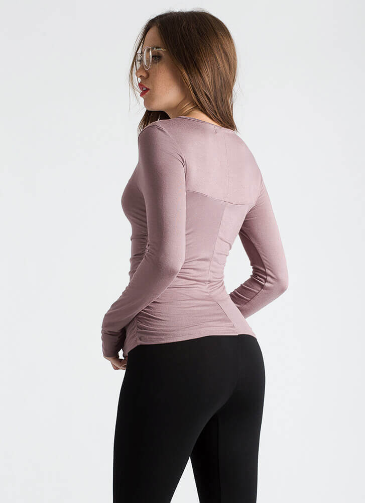 It's A Cinch Ruched Long-Sleeved Top MAUVE