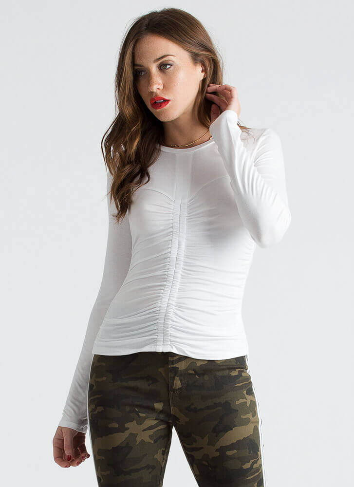 It's A Cinch Ruched Long-Sleeved Top WHITE