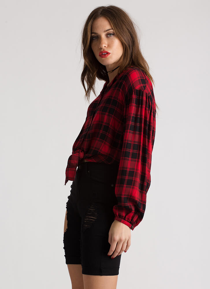 Plaid Reputation Button-Up Blouse RED