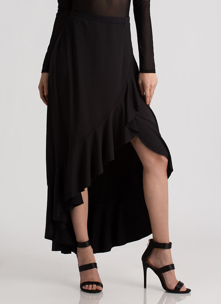 The Way You Move Ruffled Maxi Skirt BLACK