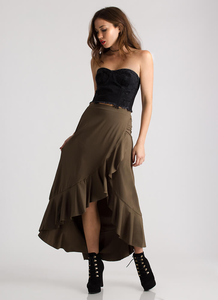 The Way You Move Ruffled Maxi Skirt OLIVE
