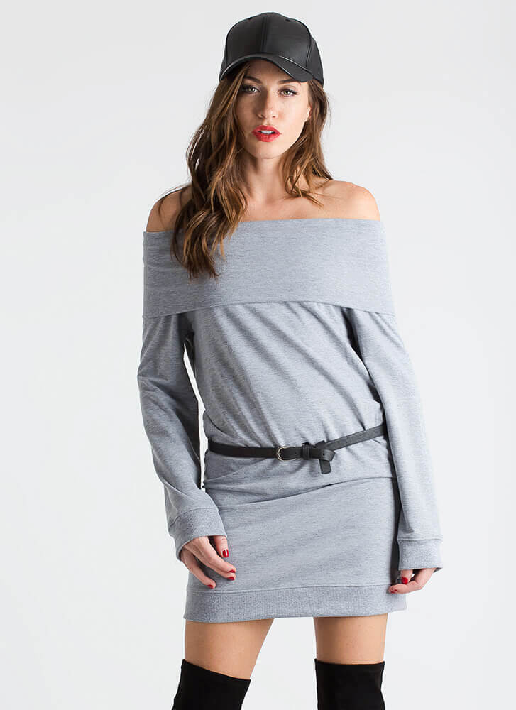 No Sweatshirt Off-Shoulder Dress HGREY