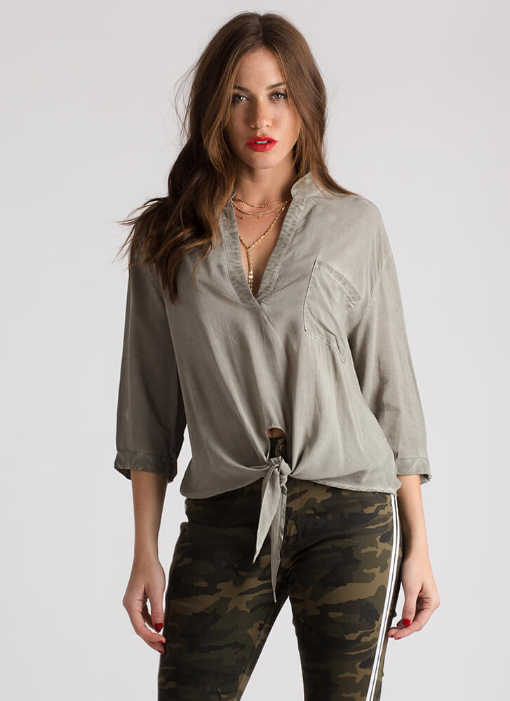 Knot The Only One Tie-Front Blouse LTOLIVE