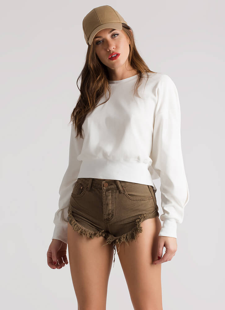 Bring Sexy Back Tied Velvet Sweatshirt OFFWHITE