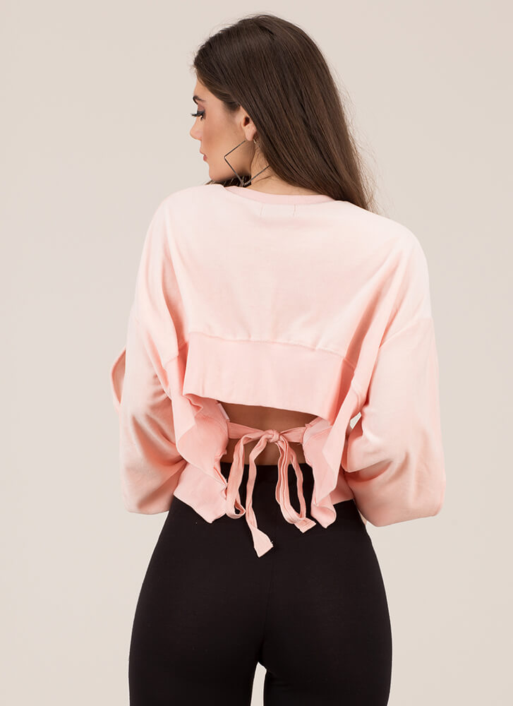 Bring Sexy Back Tied Velvet Sweatshirt PINK (You Saved $15)