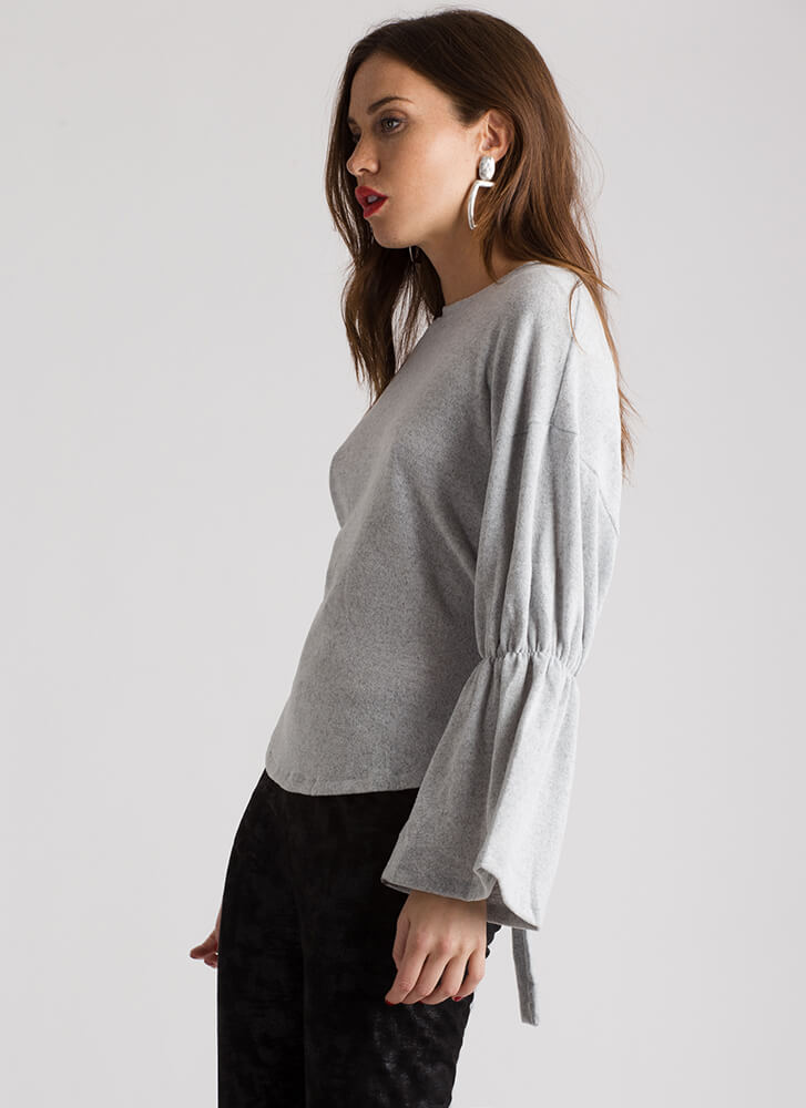 Ends In A Tie-Back Bell-Sleeve Top GREY