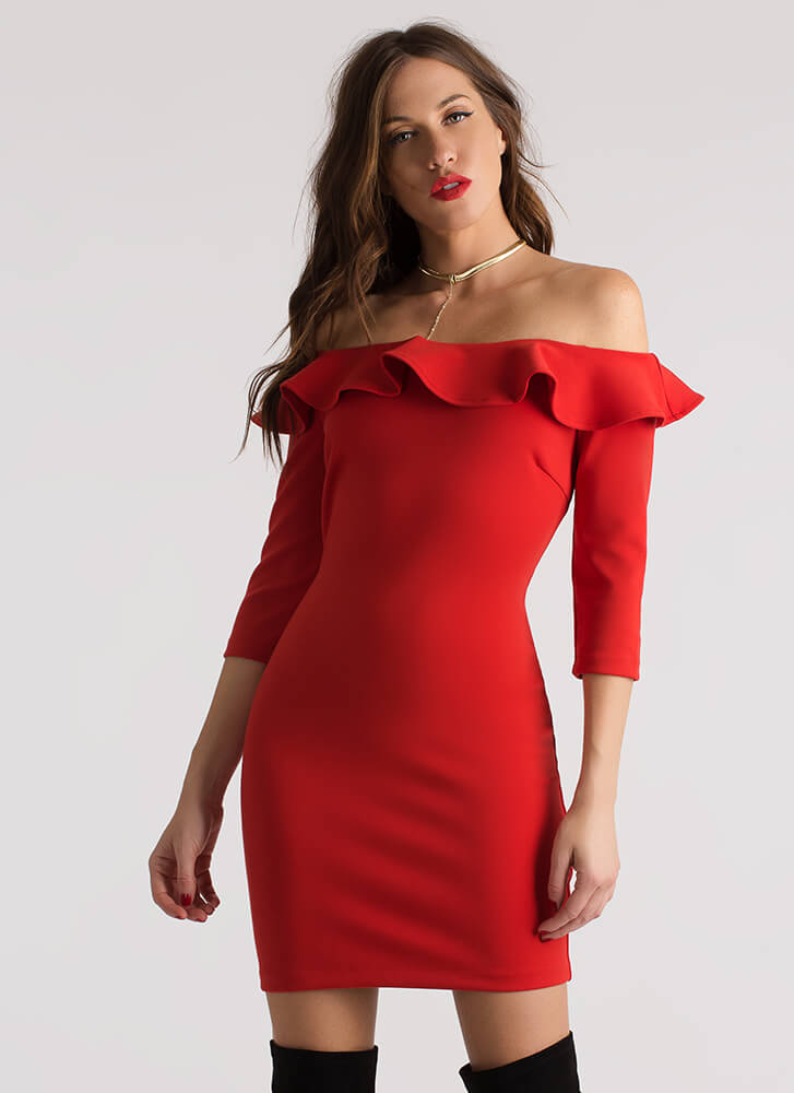 Ready To Ruffle Off-Shoulder Dress RED