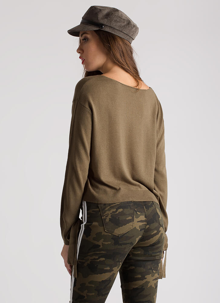 Wrist Action Tied Bow Knit Sweater OLIVE