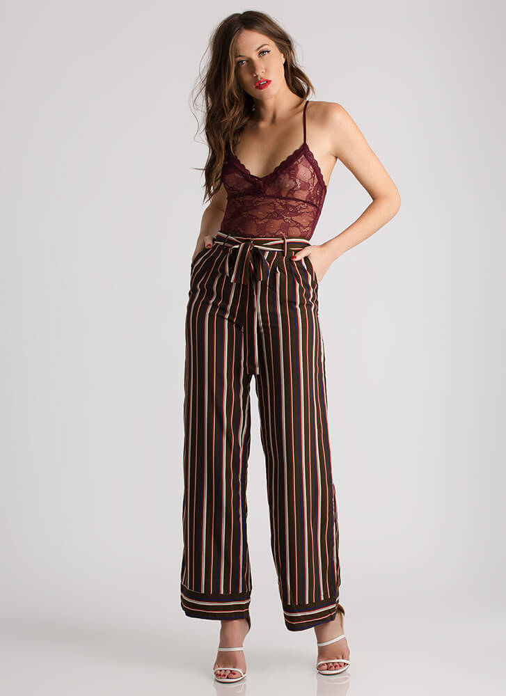 Stand In Lines Striped Palazzo Pants OLIVE