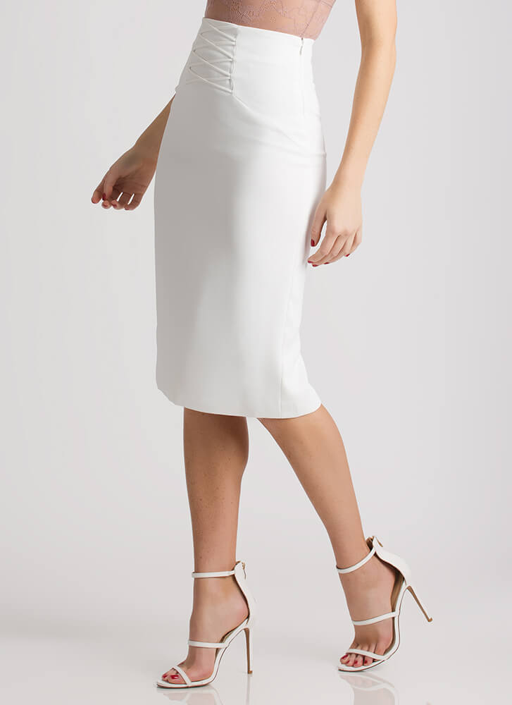 Crisscross Creation Faux Lace-Up Skirt WHITE
