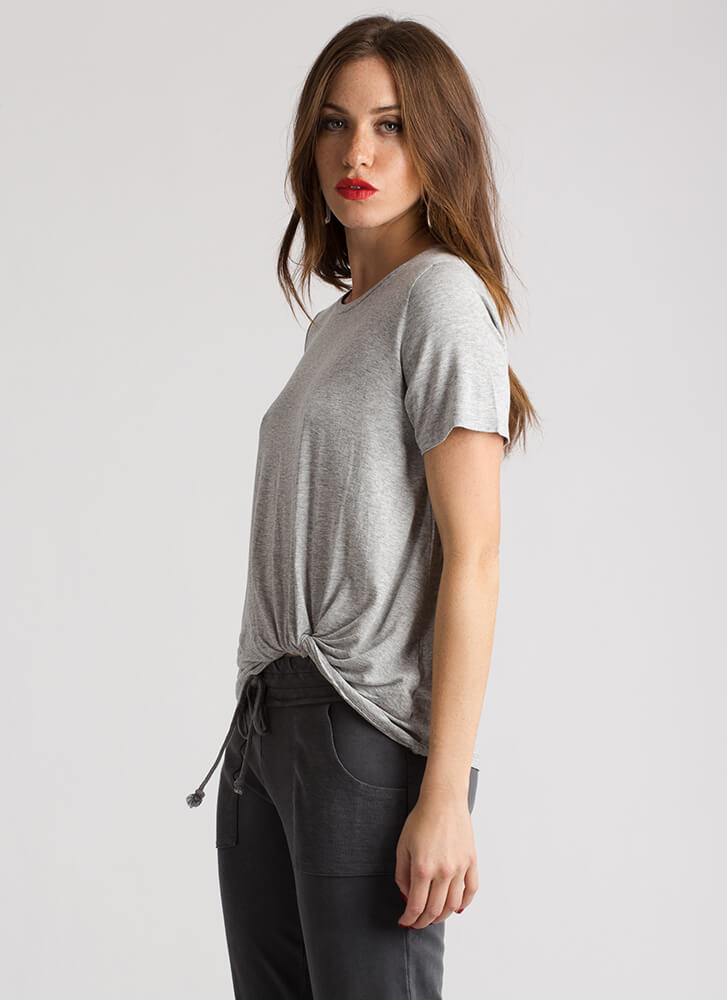 Rolled To A Stop Twisted Hem Top GREY