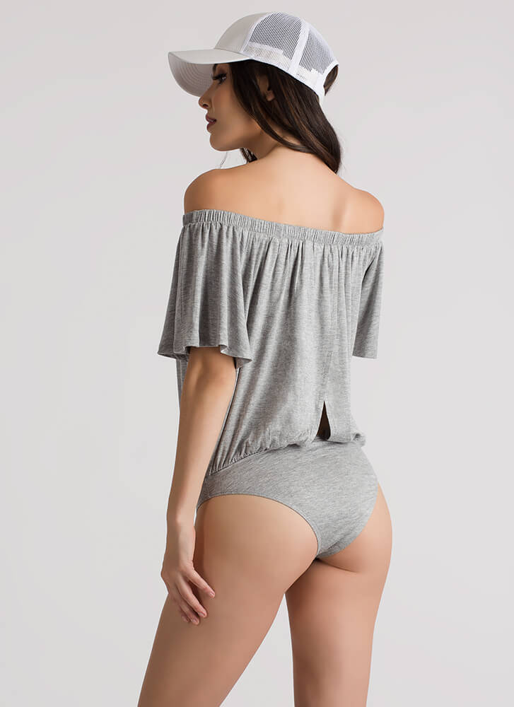Drape Escape Off-Shoulder Bodysuit GREY