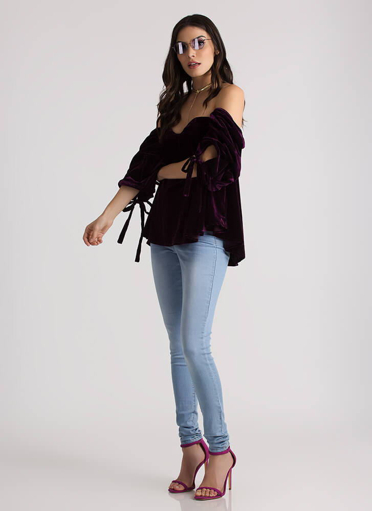 Goth Romance Velvet Off-Shoulder Top PLUM (Final Sale)