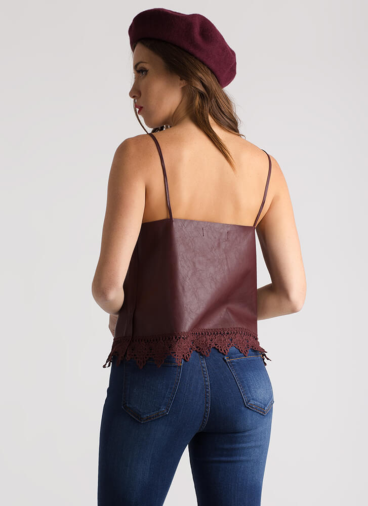 Edgy Elegance Faux Leather Top OXBLOOD