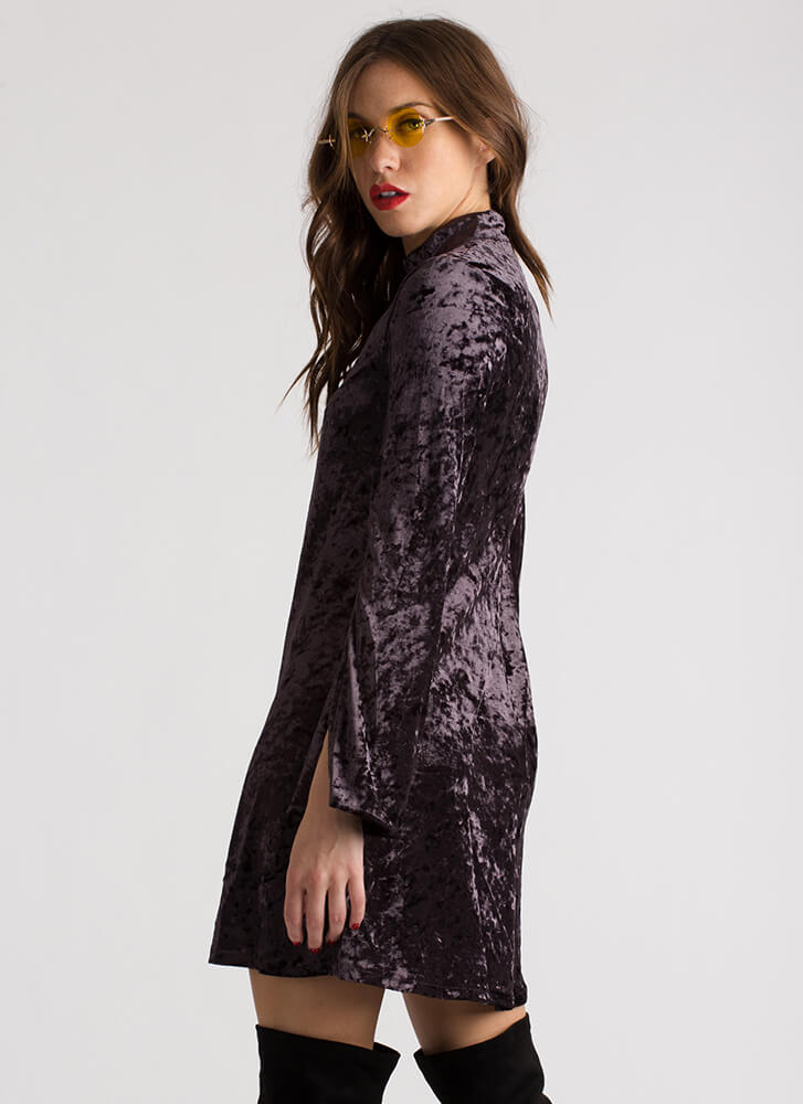 Crushing It Cut-Out Velvet Shift Dress PLUM