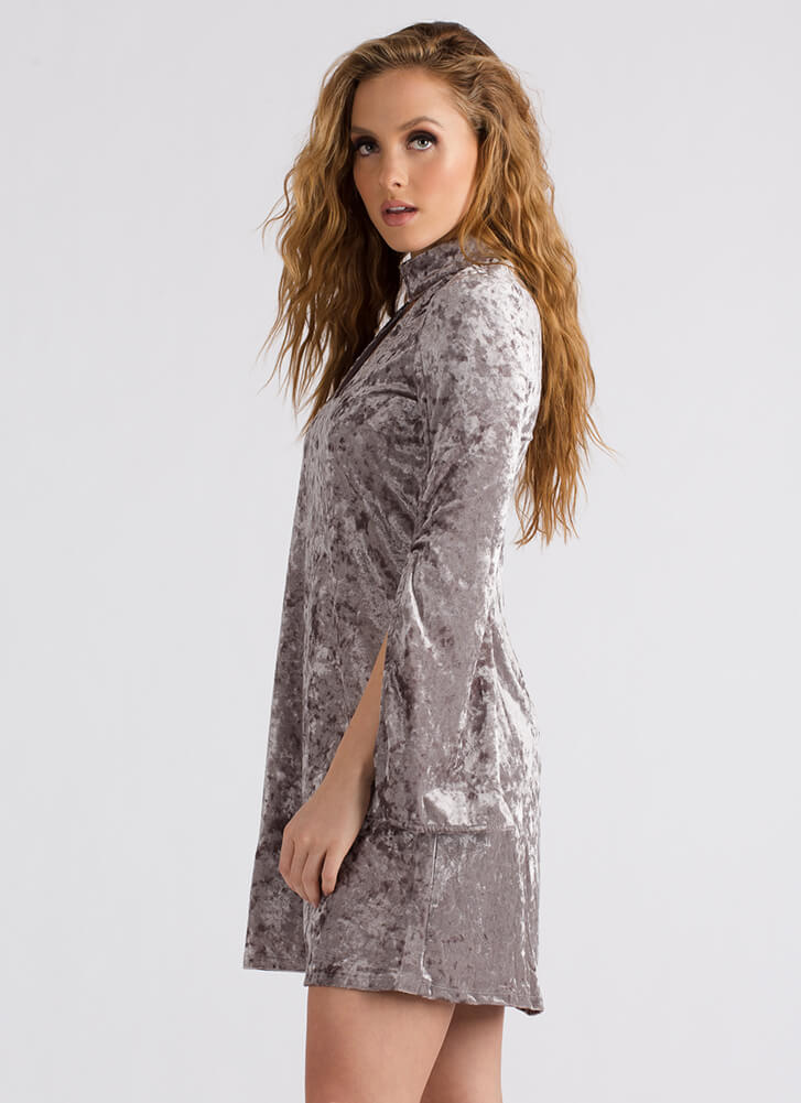 Crushing It Cut-Out Velvet Shift Dress SILVER