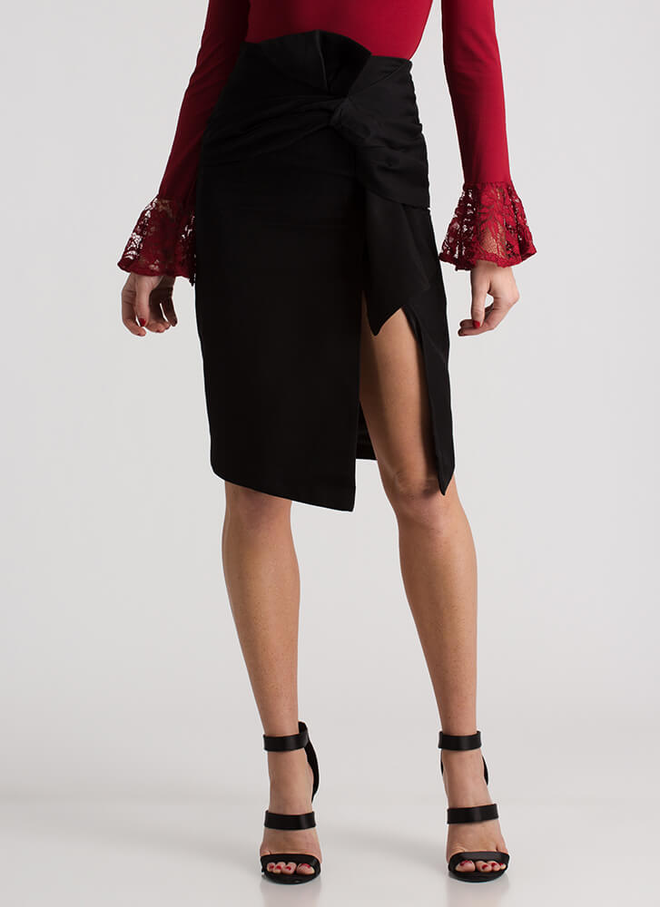 Gift To Myself Tied Bow Pencil Skirt BLACK