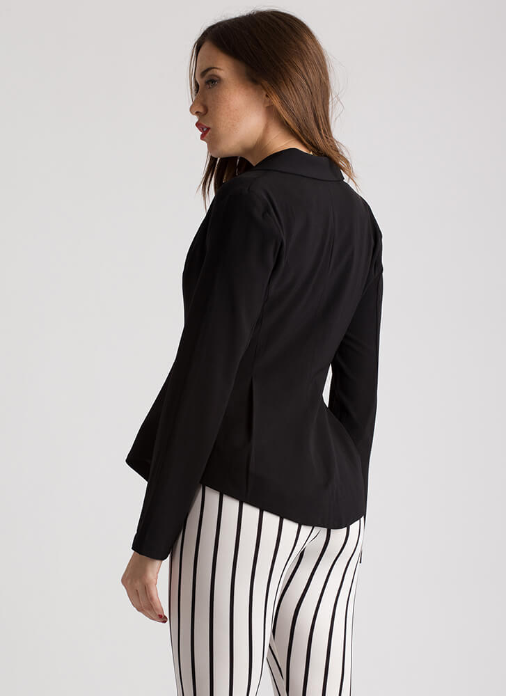 Pleating With You Flared Blazer BLACK