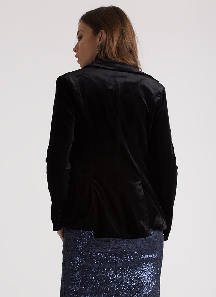 Girls' Club Plush Velvet Blazer BLACK