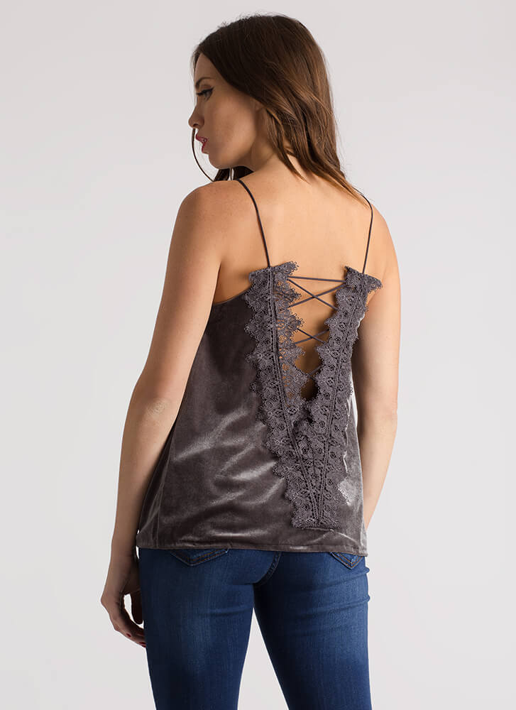 Laced With Lace Velvet Cami Tank Top ASH