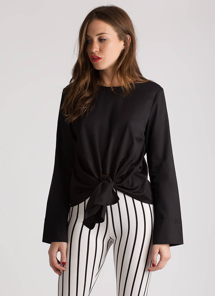 I Made The Knotty List Tie Front Blouse BLACK