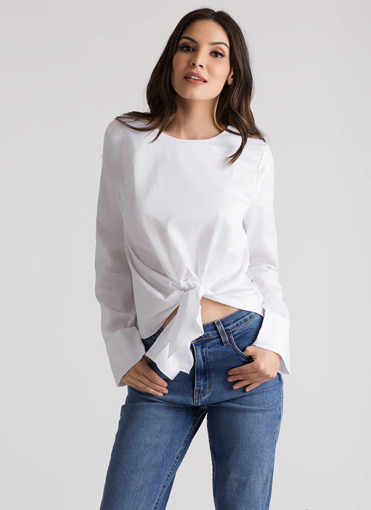 I Made The Knotty List Tie Front Blouse WHITE