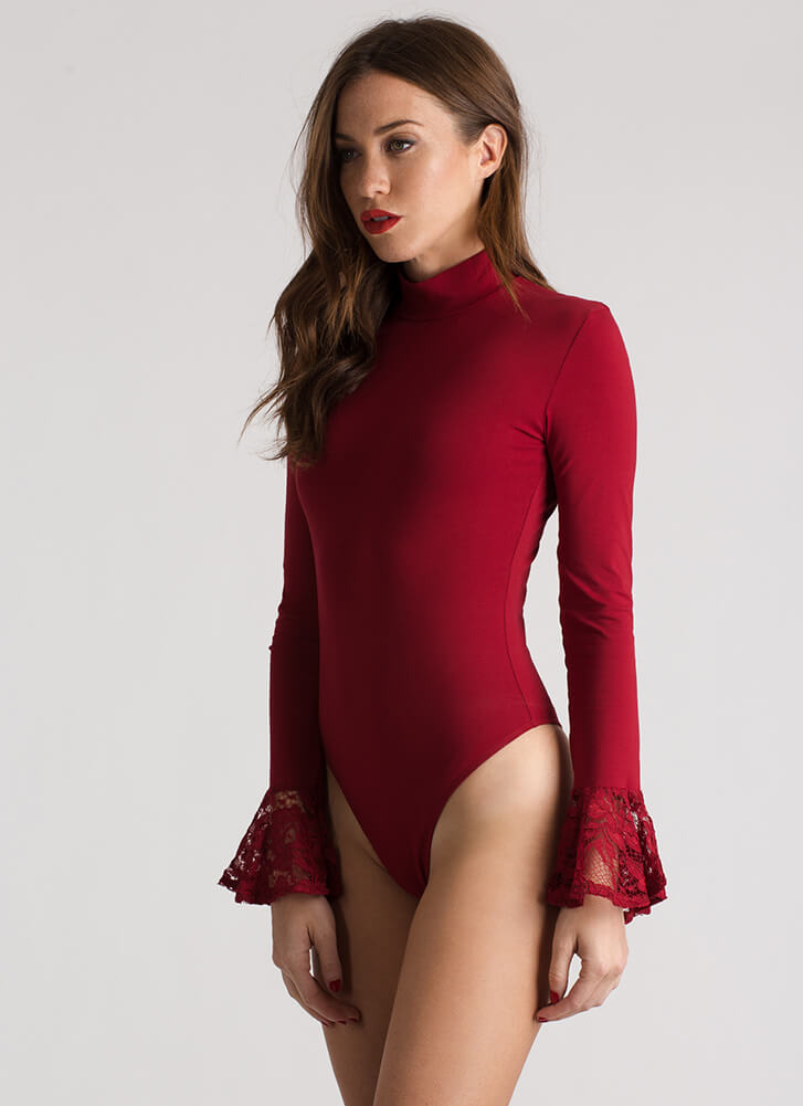 A Little Lace Bell Sleeve Thong Bodysuit RED