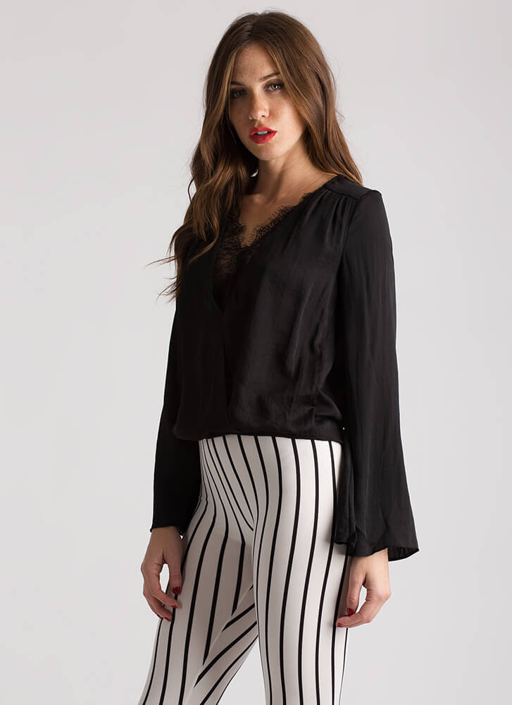 Inside Job Lacy Bell Sleeve Blouse BLACK