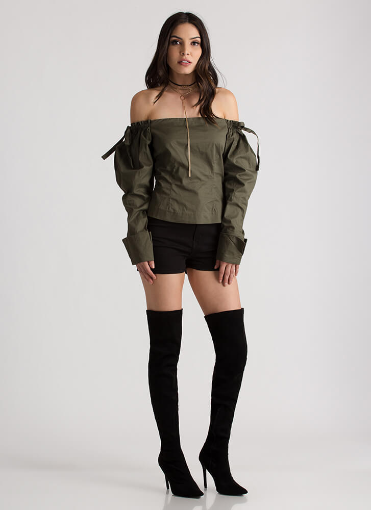 Romeo Romeo Tied Off-Shoulder Blouse OLIVE