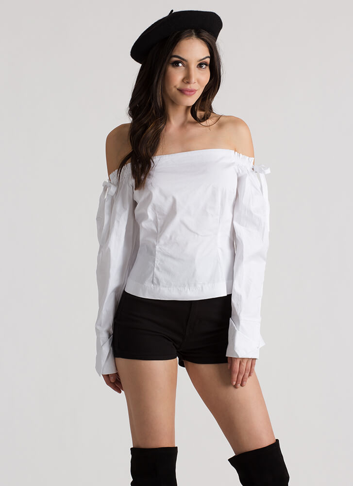 Romeo Romeo Tied Off-Shoulder Blouse WHITE